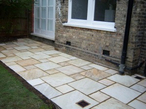 New patio in sandstone